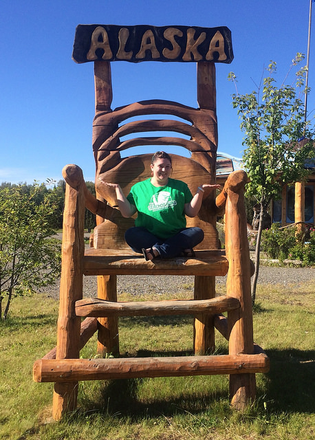 Sarah in a GIANT Alaskan chair